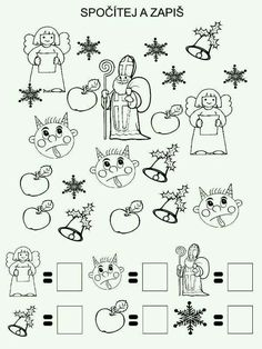 Vánoční pracovni listy Preschool Worksheets, Preschool Activities, 3d Christmas, Christmas Cards, I Spy Books, Christmas Worksheets, After School Club, Saint Nicolas, Math Groups