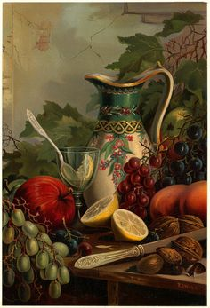 Apples And Lemons With A Pretty Jug At The Back...Black Grapes And Green Grapes With Walnuts To Crack ~ c.c.c~ Still Life Art~  saved from indigodreams.tumblr