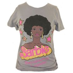 "Amazon.com: Barbie (Mattel Doll) Womens T-Shirt - ""She's Dynamite"" African American Barbie Image on Gray"