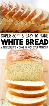 bread recipes White Bread recipe made with basic ingredients amp; detailed instructions showing how to make bread! Done in just over an hour this recipeis one of the best soft white sandwich bread recipes. from BUTTER WITH A SIDE OF BREAD Easy White Bread Recipe, Best Bread Recipe, One Hour Bread Recipe, Bread Recipe For Beginners, Basic Bread Recipe No Yeast, Soft White Bread Machine Recipe, Super Soft Bread Recipe, Yeast For Bread, Bread Dough Recipe