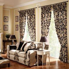 vorhang und gardinendekoration beispiele beige und schwarz blumenmuster