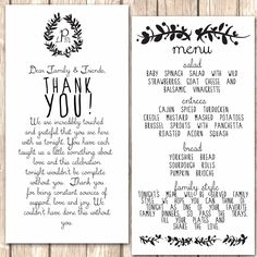Whimsical Menu and Thank You Card for Wedding Dinner