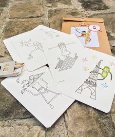 Kit de cartes postales à colorier Paris Wistiwolrd
