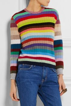 This is a nice jumper and it's £600 and I reckon I could make it out of stash for free... Gucci | Striped cashmere and wool-blend sweater | NET-A-PORTER.COM