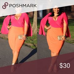 Color block cape dress Super chic color block dress in 3x. True to size. Very flattering and comfortable. Dresses