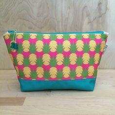 Aloha Pineapples Large Make up Bag Pink by FishLipsDesigns on Etsy