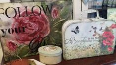 Mixed media case, 3D painting, and shabby chic box. All decoupage supplies, stamps, stencils and more at www.cottagechicinteriors.ie