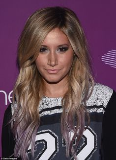 Blonde beauty: The High School Musical star styled her purple streaked hair in lovely wave...
