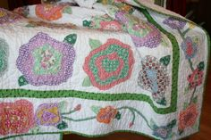 French Roses Applique Twin Quilt  30's Fabrics by Fabricelements, $545.00  Appliqued border