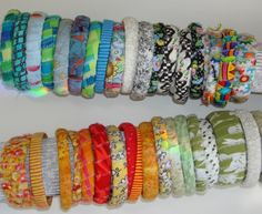 Water bottle bracelets.  Blog has another design - using buttons and embroidery floss.