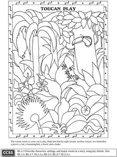 "Marvelous Rain Forest Theme Worksheet and Coloring Page ""Toucan Play"". Example taken from the ""Rain Forest Activity Book"". For sale at the great publisher Dover Publications."