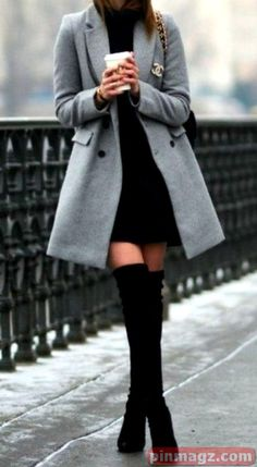 Classy Elegant Going Out Thigh High Boots Outfit Ideas for Women Fall or Winter - Elegantes ideas para ropa de otoño o invierno para mujeres - www. ideas fall classy Trending Women's Thigh High Boots Outfit Ideas for Fall or Winter 2018 Winter Outfits For Teen Girls, Winter Fashion Outfits, Fall Winter Outfits, Look Fashion, Autumn Fashion, Summer Outfits, Christmas Outfits, Classy Outfits For Women, Winter Clothes Women