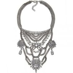 Aztec Tiered Silver Boho Statement Necklace