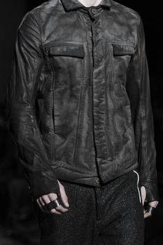Visions of the Future: Boris Bidjan Saberi FW14  Lived in distressed denim jacket and knuckledusters