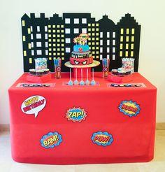 Superheroes party decoration, super hero table decor, Superheroes party games, Superheroes sweet tableץ עיצוב שולחנות לימי הולדת, עיצוב אירוע קונספט. לפרטים- ליאת פרבשטיין בפייסבוק.