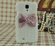 Diamond and Pearl Pink Bow Case For Samsung Galaxy S4 IV I9500, Skytechking.com