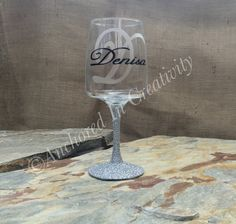 Personalized Wine Glass, Monogram Wine Glass, Wine Goblet, Gift for Her, Etched Glass, Etched Wine Glass, Glitter Wine Glass by AnchorInCreativity on Etsy
