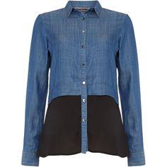 Salsa Macedonia long sleeve denim colour block shirt (£70) ❤ liked on Polyvore featuring tops, denim, women, woven top, blue denim shirt, zip top, long sleeve denim shirt and long sleeve woven shirt