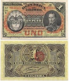 BILLETE DE 1 PESO BOGOTÁ 1895 BANCO NACIONAL DE LA REPÚBLICA DE COLOMBIA World Coins, Fountain Pen, Stamp, History, Collection, Money, Silver Coins, Patriotic Symbols, Banks