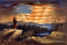 """""""A pro-Union patriotic print based on Frederic Edwin Church's oil painting 'Our Banner in the Sky,' which in turn was inspired by the highly publicized Confederate insult to the flag at Fort Sumter in April 1861 and by a sermon by Henry Ward Beecher published shortly thereafter. The print shows a lone Zouave sentry watching from a promontory as the dawn breaks, his rifle and bayonet forming the staff of an American flag formed by the sky's light. In the distance is a fort, probably Sumter."""" ..."""