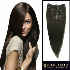 """18"""" 7pcs Dark Brown_02 Remy Clips In Human Hair Extensions 100g Attached Full Head for Womens Beauty Hairsalon in Fashion by RemyKinghair. $69.95. More Details:One 8 inch wide wefts - 4 clips per weftTwo 6 inch wide wefts - 3 clips per weftTwo 4 inch wide wefts - 2 clips per weftTwo 2 inch wide wefts - 1 clip per weftLife:6 To 12 Months(depending on care and use). Texture:Straight Remy Human Hair. Color:#02Length:18 Inch. Qty:1 Deluxe Full Head Set(Weight:100g). Kin..."""