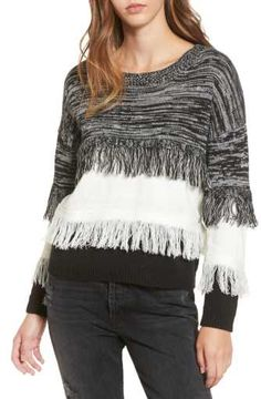Moon River Frayed Mix Knit Sweater