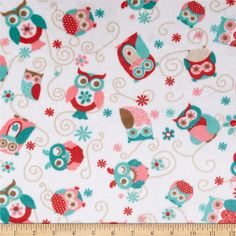 Adorn-it Minky Cuddle Nested Owls Coral from @fabricdotcom  Designed by Adorn-It for Shannon Fabrics, this printed minky fabric has an extremely soft 3 mm pile that's perfect for baby accessories, blankets, throws, pillows and stuffed animals. Colors include teal, breeze, cherry, coral, latte and cappuccino on a snow white background.
