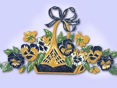 1950s Original Stunning Uncut Vogart Textilprint Basket of Pansies Transfer 780 | eBay