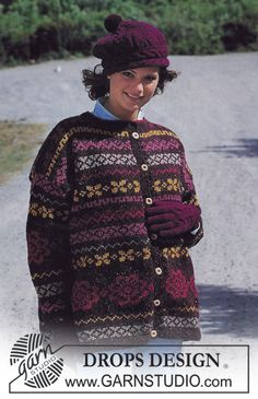 "DROPS 40-15 - DROPS jacket with pattern borders in ""Alaska"", and hat and gloves in ""Karisma"". - Free pattern by DROPS Design"