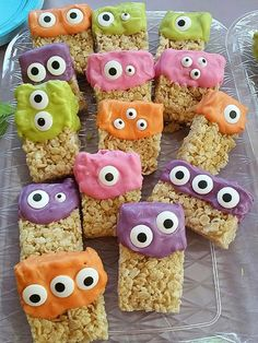 17 Creepy-Cute Treats to Make for Halloween | MONSTER RICE KRISPIES | These colorful Rice Krispies treats are the easiest (and, quite possibly, tastiest) monster-themed snacks of all time.