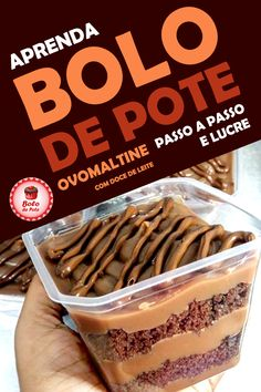 Receitas de Bolo de Pote Ovomaltine Passo a Passo para Vender #receitasdebolodepote #bolodepoteparavender #bolodepoteovomaltine #bolodepotepassoapasso My Recipes, Sweet Recipes, Cake Recipes, Cooking Recipes, Bike Food, A Food, Food And Drink, Experiment, Dessert Boxes