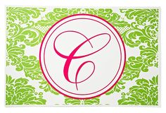 One Kings Lane - Summer-Party Invites - S/4 Initialed Green Laminated Place Mats