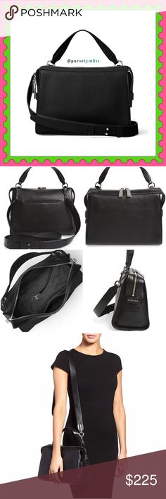 "Authentic Michael Kors Black Leather Handbag  AUTHENTIC  Gorgeous black leather handbag from Michael Kors! Very versatile! Top handle, shoulder & crossbody bag! Lightweight & very spacious! Approximate measurements: Length 10.5 Height 8"" Width 5"" Zipper top closure. Bottom feet for protection. Exterior compartment and pockets inside. New w/ tag and dust bag. NO TRADE ❌ MICHAEL Michael Kors Bags"