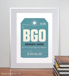 c5d854e89e3 Bergen Norway BGO. Luggage Tag Poster. Baggage Tag by offizin Airport  Luggage