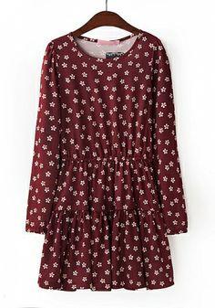 Fashoin Enchating Dizzying Rose Red Nylon round neck Long Sleeve Polka Dot Fashion Dresses