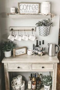 Home Coffee Stations! See pictures of home coffee station design ideas for your coffee nook or home coffee bar. These coffee station ideas are easy DIY farmhouse coffee bar design ideas for YOUR kitchen. Wall corner and countertop home coffee stations too Coffee Station Kitchen, Coffee Bars In Kitchen, Home Coffee Stations, Coffee Bar Home, Coffee Bar Ideas, Kitchen Small, Coffee Kitchen Decor, Coffee Bar Station, Kitchen Cart