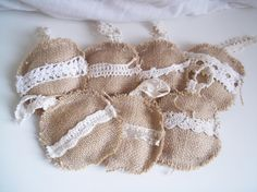 Burlap & Lace Christmas Ornaments  Set of 7 by SisterShic on Etsy, $14.00
