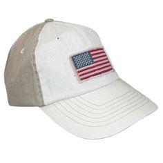 fca5b7f298080c DPC Global Trends Cotton American Flag Baseball Cap with Solid Back, Khaki