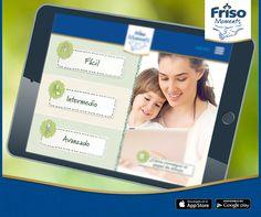 """¡La aplicación """"Momentos Friso"""" reta a tu hijo a aprender jugando! El juego tiene tres niveles, para que tu hijo nunca se aburra y desee avanzar, mientras que explora sus talentos. Instala la aplicación en tu smartphone o tablet, da clic en la sección """"Juega un juego"""" y comienza a jugar después de escoger el nivel de dificultad adecuado. Descarga gratis la aplicación."""