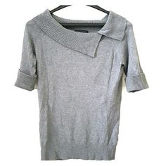 Short sleeve Banana Republic top Grey, short sleeve top in good condition. Neckline, sleeve cuffs and bottom of top have ribbed details. Cute neckline.  Easy top to wear to work or with jeans. Size small. Banana Republic Tops