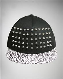 Animal Print Spike Flatbill Hat  www.spencers.com