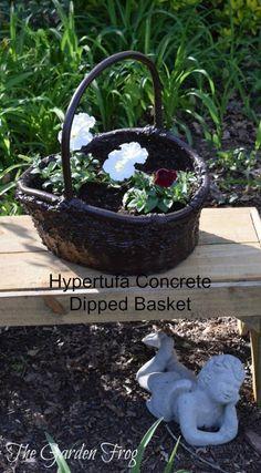 Dip your wicker basket in hypertufa concrete for the garden