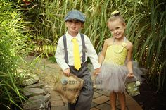 Grey and Yellow Wedding, Ring Bearer & Flower Girl, Flower Girl Tutu