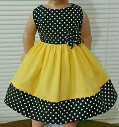 American Girl Doll Clothes/Yellow and Polka Dots /Handmade Inches. – Charlotte Atchison American Girl Doll Clothes/Yellow and Polka Dots /Handmade Inches. American Girl Doll Clothes/Yellow and Polka Dots /Handmade Inches. African Dresses For Kids, Toddler Girl Dresses, Little Girl Dresses, Cute Baby Dresses, Girls Dresses, Party Dresses, Girls Frock Design, Baby Dress Design, Baby Frocks Designs