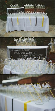 mason jar glass wedding favors with table numbers