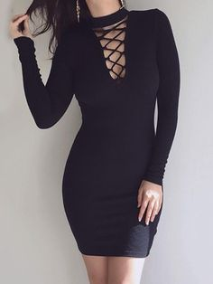 Choker Lace Up Bodycon Dress