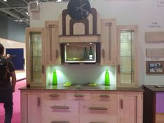 Gorgeous Art deco kitchen by thoroughlwood.co.uk. The drinks cabinet move up to hid it out of sight x