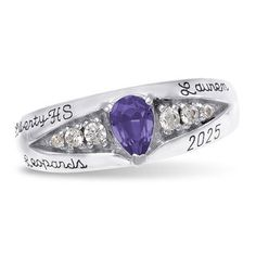 JamesJenny 10K 14K White Gold  Graduation Class Of 2021 School Ring Band with 1.25ct Marquise Sapphire CZ Size 4-10