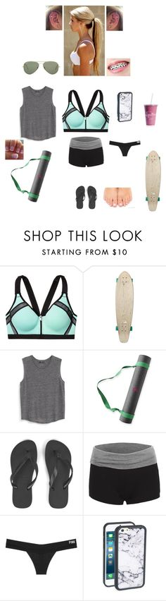 """""""Yoga"""" by marylgoldfish ❤ liked on Polyvore featuring Quiksilver, MANGO, Mark & Graham, Havaianas, Victoria's Secret, Wildflower and Ray-Ban"""