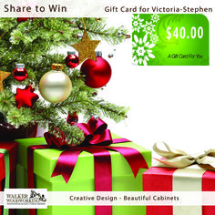 Just in time for your Holiday Shopping Spree! Like, Comment & Share! We are giving away a $40.00 gift card for Victoria Stephen To enter to win: 1. LIKE our page.. 2. SHARE this post. FOLLOW us  (for insta only) 3. TAG a friend! Winner will be announced Monday at 5 p.m. and will be selected from Walker Woodworking's Instagram & Facebook accounts. Stay tuned for more prizes - Like and Follow-us. #giveaway #win #FREE #walkerwoodworking #beautifulcabinets